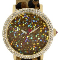 Women's Betsey Johnson Textured Dial Crystal Bezel Watch, 45mm