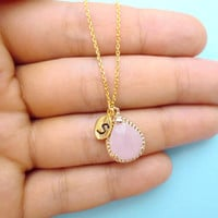 Ice, Pink, Glass, Initial, Necklace, Bidesmaid, Gift, Mint, Color, Necklace, Initial, Necklace, Personalized, Modern, Jewelry