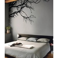 """Stickerbrand© Nature Vinyl Wall Art Tree Top Branches Wall Decal Sticker - Black, 44"""" x 100"""", Left to Right. Easy to Apply & Removable. Includes FREE Application Squeegee"""