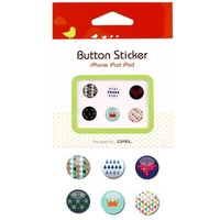 6-Piece Home Button Sticker Accessory (Pattern) for iPads, iPhones and iPods