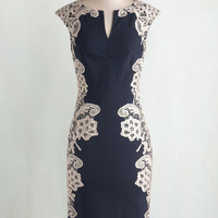 Long Cap Sleeves Sheath Lakeside Libations Dress in Navy