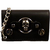 Skull Logo Genuine Leather Trifold Biker's Wallet ID Card Holder w/ Chain 1046-6 (C)