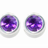 14Kt White Gold Amethyst Bezel Round Stud Earrings