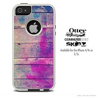The Pink & Blue Wood Abstract Skin For The iPhone 4-4s or 5-5s Otterbox Commuter Case