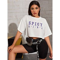 Drop Shoulder Slogan Graphic Crop Tee