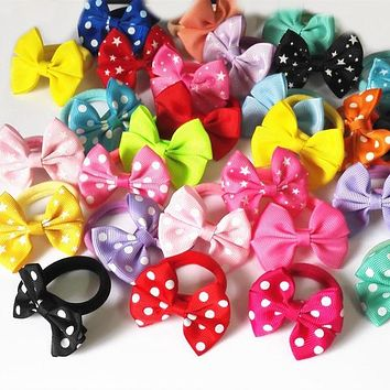 5 Pairs (10 Pcs) Sweet Solid Print Bow Elastic Hair ropes Kids Hair ties Adorable Ponytail Holder Hair Accessories PT025