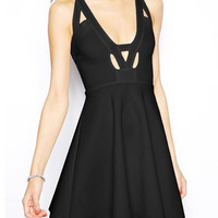 Cut-Out Deep V-Neck High Waisted Mini Skater Dress With Cross Back