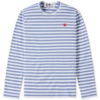 Comme des Garcons Play Little Red Heart Long Sleeve Striped Tee