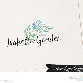 premade logo design watercolor flower logo feather logo photography logo website logo blog logo ink brush logo business logo floral logo