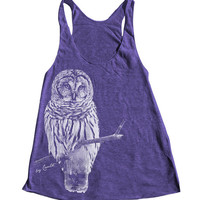Women Tank Top OWL American Apparel Triblend Racerback Hand Screen Printed 9 Color Available