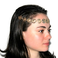 """Coming Full Circle"" Gold Headband Head Chain"