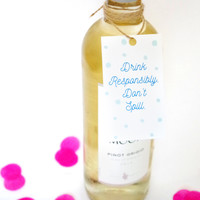 Drink Responsibly Wine Gift Tag (Set of 4)