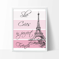 Funny Nursery Art Print, Paris Poster, French Nursery Decor, Pink, Paint Chip Print, Baby Shower Gift, Print for Girls, P-018