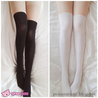 [3 For 2] 2 Colors Basic Fake Over Knee Thigh High Tights SP130053