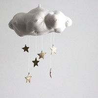 Gold Star Cloud Mobile- modern fabric sculpture for baby nursery decor in white linen and metallic faux gold leather