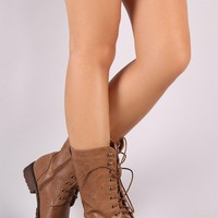 Round Toe Combat Lace-Up Boots