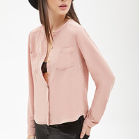 FOREVER 21 Boxy Crew Neck Buttoned Top