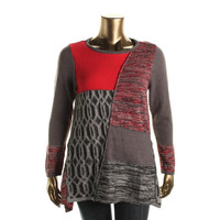 Style & Co. Womens Knit Patchwork Tunic Sweater