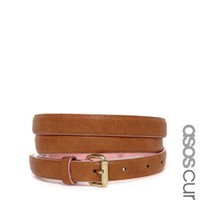 ASOS CURVE Skinny Waist And Hip Belt With Contrast Edge Paint - Tan