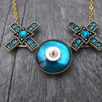Turquoise Kiss-Hug Xs & Os Pendant Necklace with Gears on Brass Cable Link Chain
