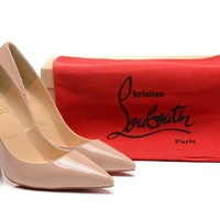 Christian Louboutin Nude Patent Leather High Heels 100mm