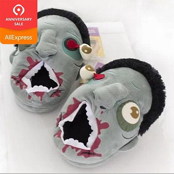 Christmas gift Halloween Free Shipping Plush Zombie Slippers / Ravenous Zombie Warm Slippers Home Halloween funny shoes gift