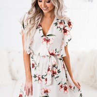 Thrill Of It Floral Dress (Taupe)