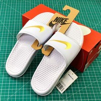 Nike Benassi Duo Ultra Slid White Gold Sandals - Best Online Sale