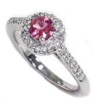 Pink Sapphire .69CT Diamond Engagement Vintage Pave Halo 14K White Gold Ring Size 7