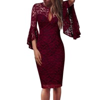 Vfemage Womens Sexy Keyhole Front Floral Lace Ruffle Flare Bell Sleeve Cocktail Wedding Party Club Slim Bodycon Sheath Dress 960