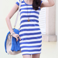 Blue Striped Mini Dress