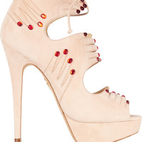Charlotte Olympia - Hands On embellished suede sandals