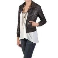 Amazon.com: Hailey Jeans Co Juniors High Collar Faux Leather Jacket: Clothing
