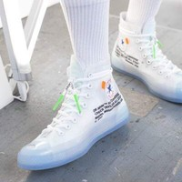 OFF White x Converse Chuck Taylor 1970s OW Fashion Women Men Personality Transparent Sneakers Shoes I/A