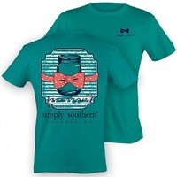 Simply Southern Tees Preppy T-Shirt - Image Of Mason Jar with Bow Tie - Color Tropical Blue (Medium)