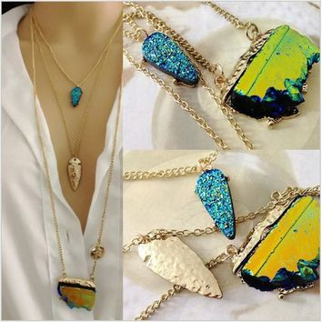 Triple Layer Abstract Geometric Stone - Neon Blue