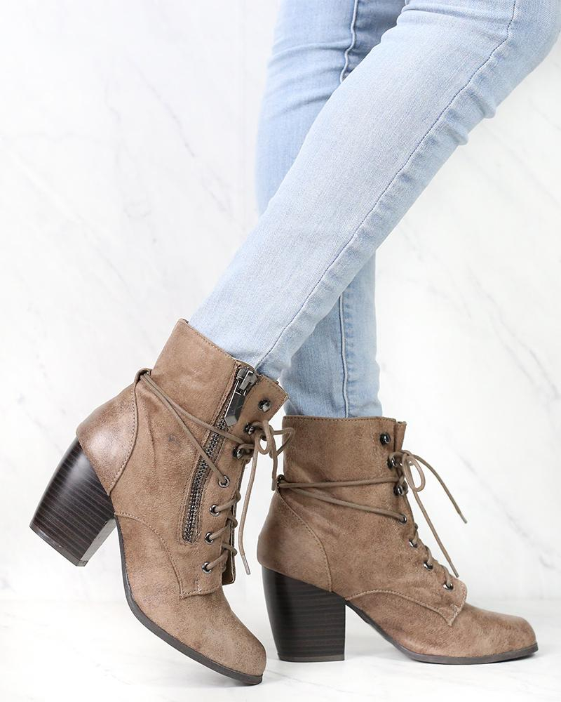 Image of High Road Suede Heel Ankle Boots in More Colors