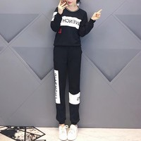 """""""Givenchy"""" Women Casual Fashion Multicolor Letter Round Neck Long Sleeve Trousers Set Two-Piece Sportswear"""