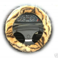 Gold and black Tiger stripe animal print faux fur fluffy furry fuzzy car Steering wheel cover