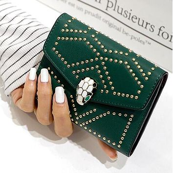 """Bvlgari"" New Hot Sale Trending Women Leather Handbag Buckle Rivet Wallet Purse Green"