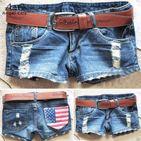 women hot shorts summer fashion Skinny Low waist sexy mini American flag denim shorts