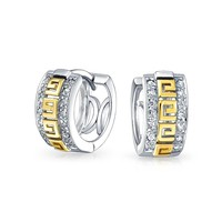 Greek Key Huggie Hoop Earrings CZ 14K Gold Plated 925 Sterling Silver