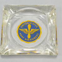 """1940s Vintage / WW2 Era / United States Army Air Forces / US Army Air Corps / Ash Tray / Glass Ashtray / 3.5"""" Square / Air Force Ash Tray"""