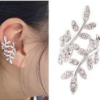 CHOP MALL® Fashion (Tree) Alloy Ear Cuff Silver Color (1 Pc) + Free Wristband Accessory and Unique Ring