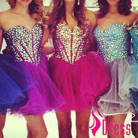 Sweetheart Ball Gown With Beads Crystals Sleeves Short Evening Dress Prom Dress,Cocktail Dress,Formal Dress,Party /Homecoming Dress LA01