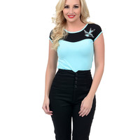 Aqua & Black Sparrow Dame Top