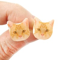Realistic Ginger Kitty Cat Face Shaped Animal Resin Stud Earrings | Made To Order | Handmade
