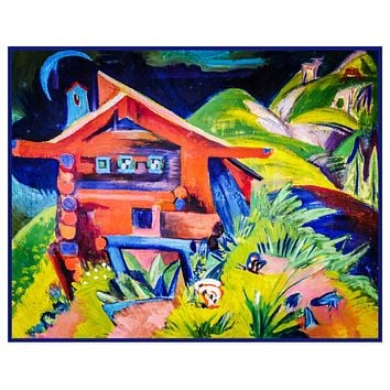 Red House in the Alps by Ernst Ludwig Kirchner Counted Cross Stitch Pattern