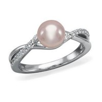 OrianO, 10K White Gold and Diamond Accent Freshwater Cultured Pearl Ring- Size 5