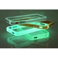 TOOGOO Blue Translucent Glow in the Dark Premium Bumper Case for Apple iPhone 4